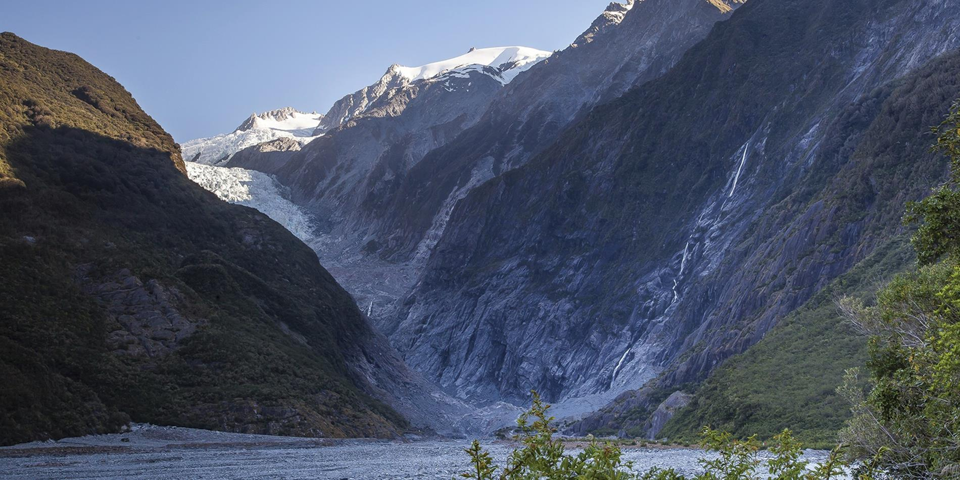 View looking up to Franz Josef Glacier, New Zealand