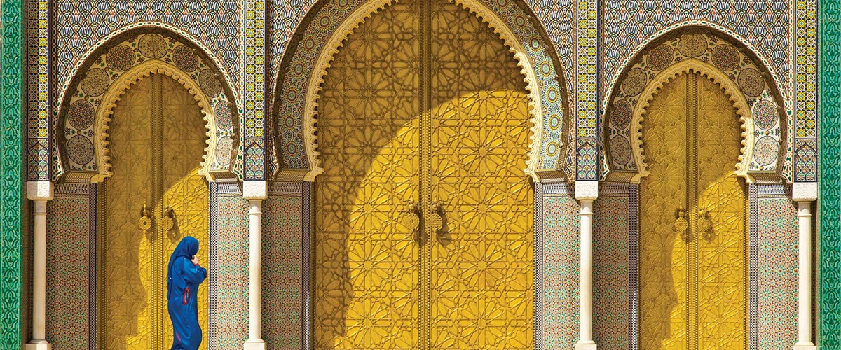 Large ornate yellow doors, Morocco