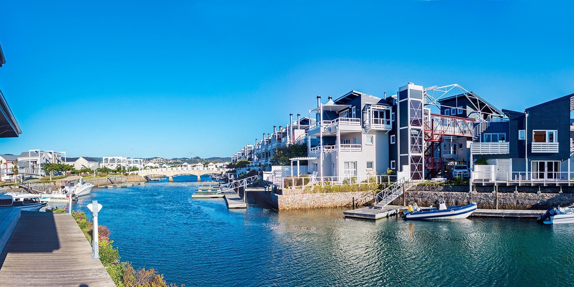 Knysna port with boats and houses