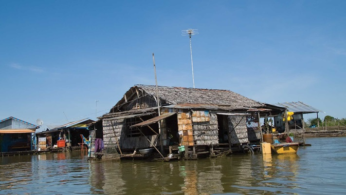 Old wooden building on the water, Cambodia