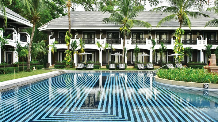 Large hotel pool and garden, Cambodia