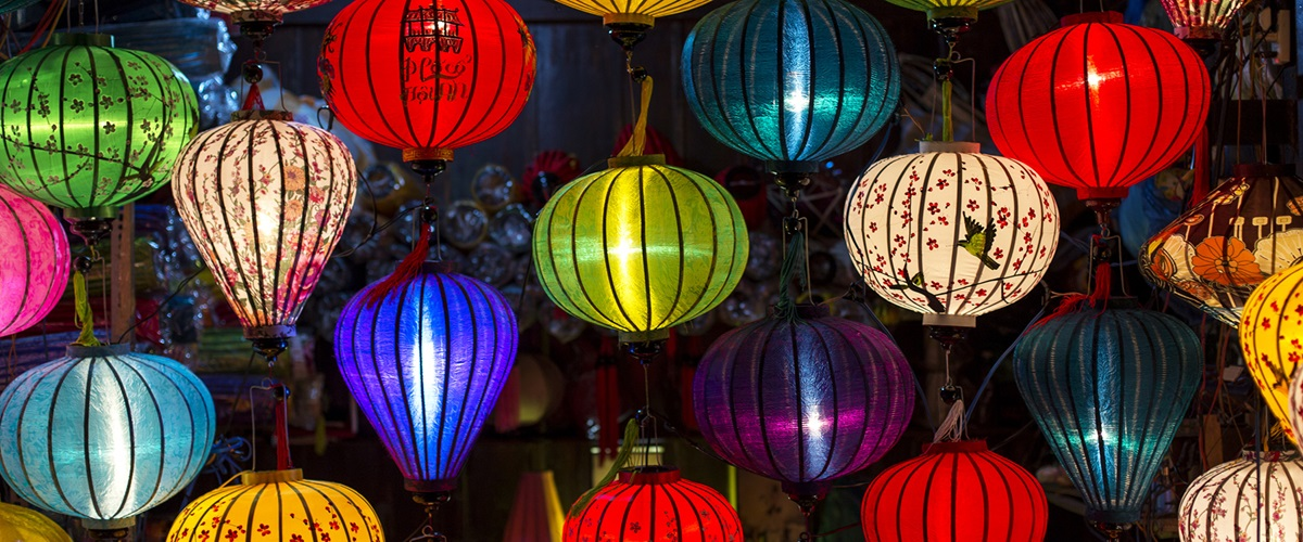 Close up of colorful Asian lanterns