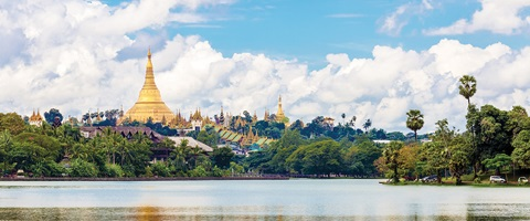 Yagon Shwedagon pagoda during a sunny day in Myanmar
