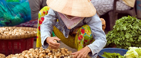 A lady selling various vegetables in Ho Chi Minh, Vietnam