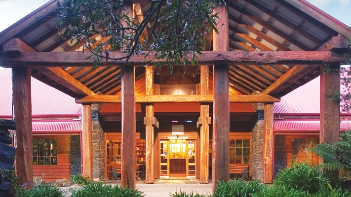 Main entrance to a hotel with large timber beams, Tasmania