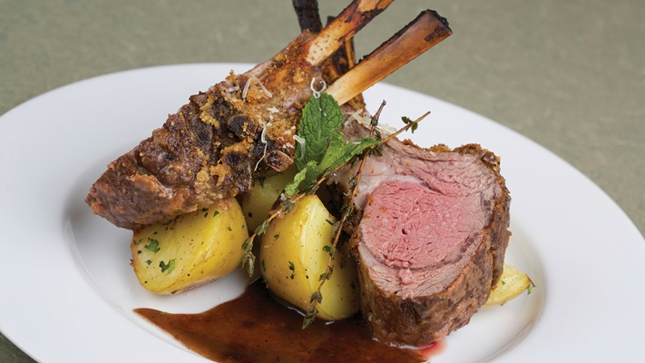 Succulent lamb served with potatoes