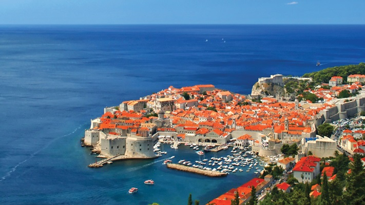 Aerial view looking down on Dubrovnik, Croatia