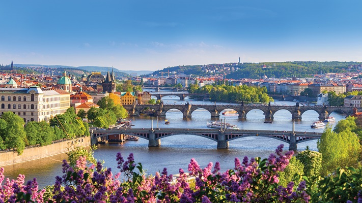 Panoramic view of the Charles Bridge over the Vltava River Prague, Czech Republic