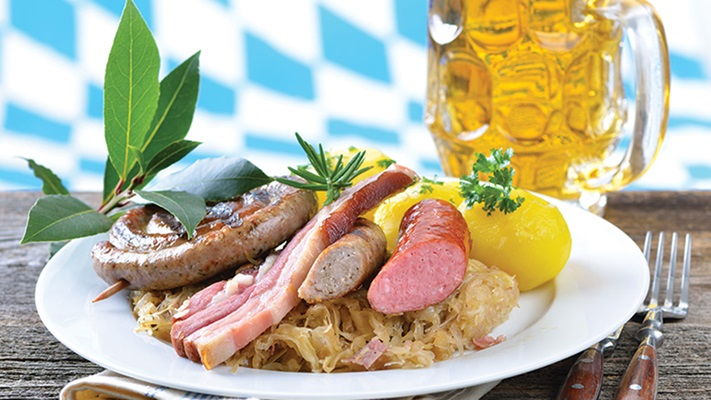 Traditional Bavarian food and beer