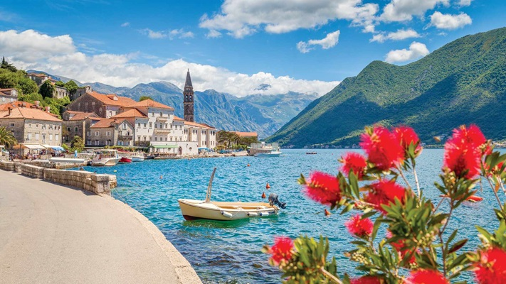 View of Kotor Perast at bay with red flowers, Montenegro