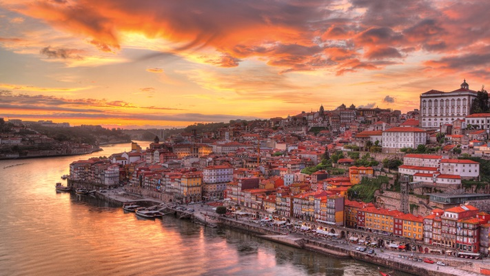 Porto at sunset from across the Douro River