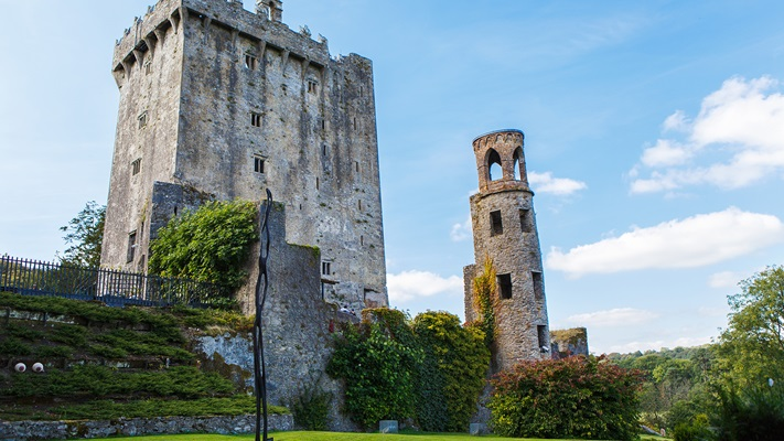 Stone ruins of the Blarney Castle Tower in Ireland