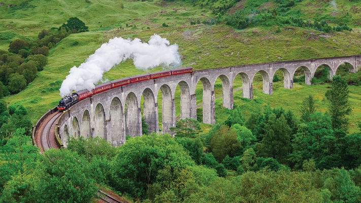 The Jacobite Steam Train cutting through the Scottish countryside