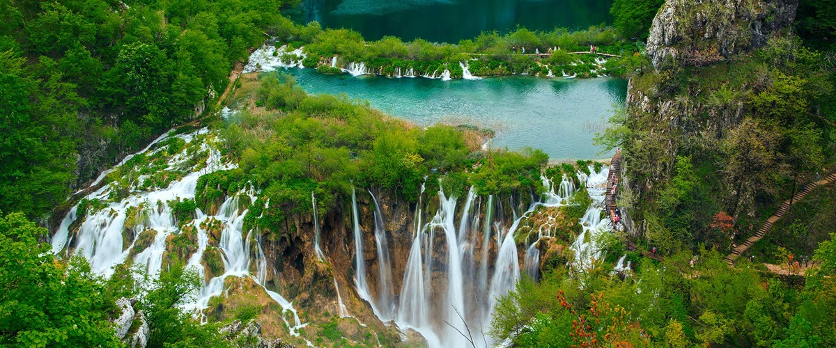 Lush and remote lake and waterfall, Croatia