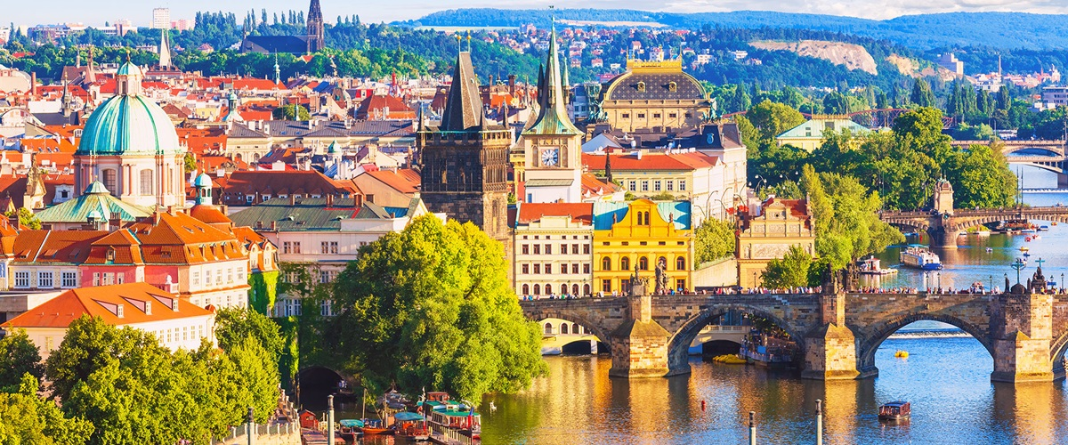 Prague entrance to city via bridges, daylight, Czech Republic