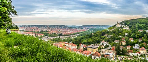 Aerial view of the historic city of Wurzburg, Germany