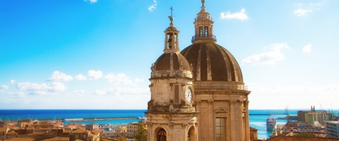 Cathedral overlooking beach, Catania, Sicily, Italy