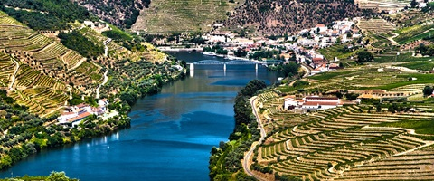 River flowing through Douro Valley, Pinhao in Portugal