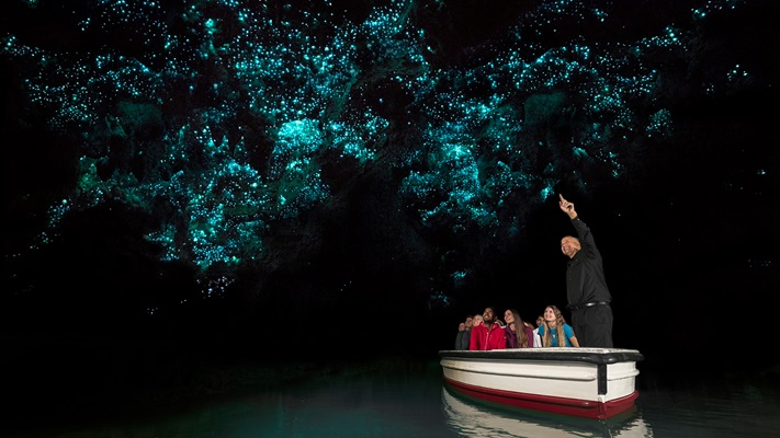 Waitomo caves illuminated by the renowned glowworms