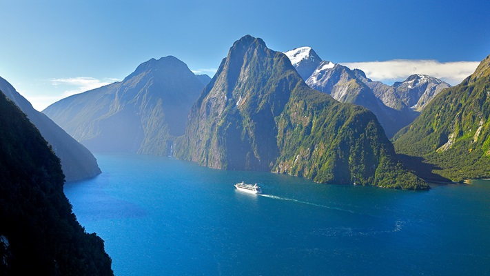 Sky high shot of Milford Sound Fjordland