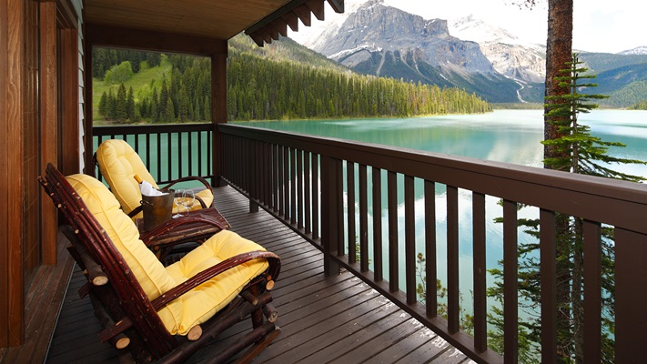 Viewing the lake from the balcony at Emerald Lake Lodge