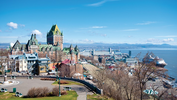 Aerial view of the harbour and city lakeside in Quebec, Canada
