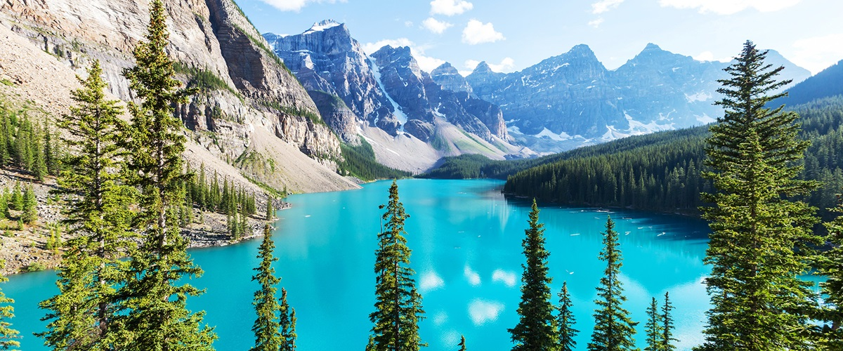 Aerial view of Moraine Lake, Banff National Park, Canada