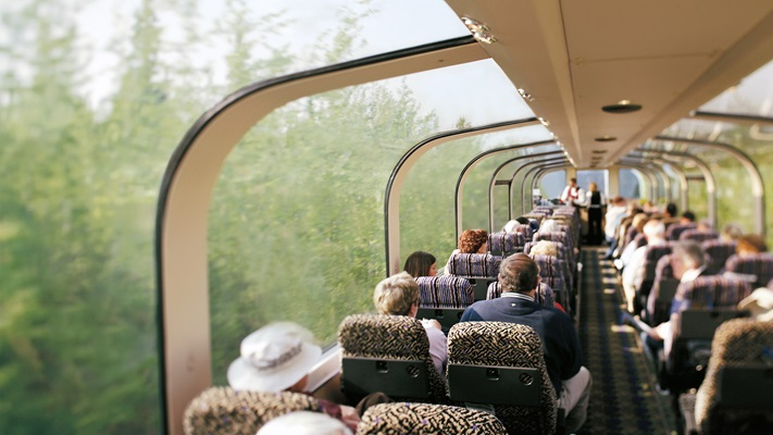 Passengers sitting in a glass dome rail carriage