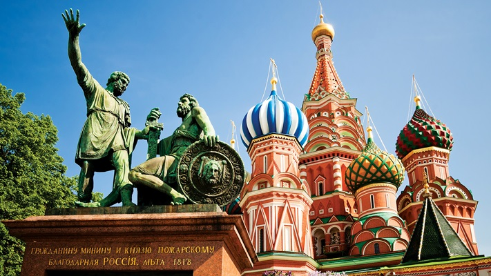 The spectacular St. Basil's Cathedral stands as the icon of Russia.