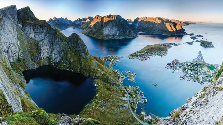 Aerial view of huge remote mountains and pristine islands, Norway
